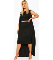plus 3-delige set met duster jas, black