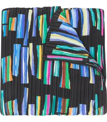 pleats please issey miyake hopscotch print pleated scarf - black