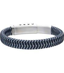bracciale in corda blu con chiusura in acciaio per uomo