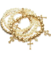 thalia sodi gold-tone 4-pc. set crystal & imitation pearl cross charm stretch bracelets, created for macy's