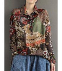 tribal modello camicetta vintage manica lunga con stampa bavero bottone la
