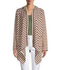 stellah women's stripe hooded cardigan - coffee - size m