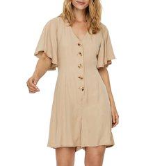 women's vero moda viviana flutter sleeve romper, size small - beige