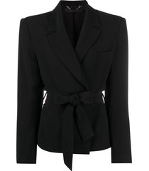 federica tosi tie-waist single-breasted blazer - black