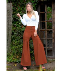 pantalón bota ancha outfit 1081 para mujer terracota