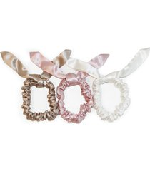 slip pure silk 3-pack bunny hair ties, size one size - white