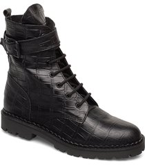 hailey lace up croco shoes boots ankle boots ankle boots flat heel svart shoe the bear