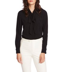 women's court & rowe tie neck long sleeve top, size x-small - black