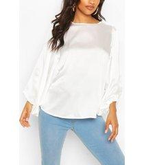 maternity drape sleeve satin top, white