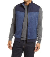 men's bugatchi quilted vest, size medium - blue