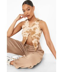 geribbelde contrasterende tie dye top met naaddetail, camel