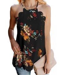 camiseta sin mangas con cuello halter y estampado floral al azar yoins