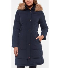 kate spade new york faux-fur-trim hooded down puffer coat