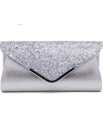 bolsa clutch liage envelope brilho glitter e metal alça removível prata