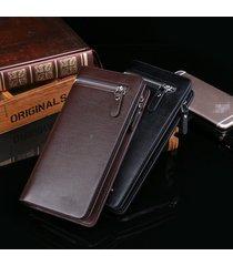 billetera, con cremallera informal de moda de la-marrón