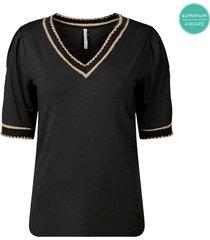 summum 3s4492-30214 990 top v-neck ecovero viscose ea luxury basics black