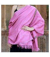 wool shawl, 'hot pink garden' (india)