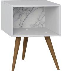 mesa de cabeceira branco/carrara be mobiliã¡rio - branco - dafiti