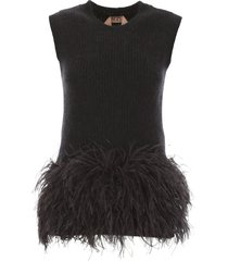 n.21 knit top with feathers