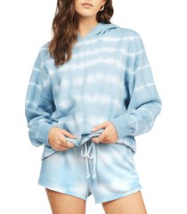 women's billabong gold coast stripe tie dye cotton blend shorts, size small - blue