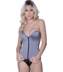 corselet yasmin lingerie tafetá cavado prata. - kanui