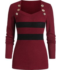 button contrast sweetheart neck sweater