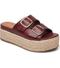 woms slides sandalette med klack espadrilles beige tamaris