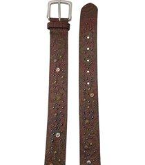 etro stud-embellished leather belt - brown