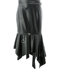 monse grommet-details trumpet leather skirt - black