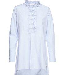 blouse w. lace detail at chest and blouse lange mouwen blauw coster copenhagen