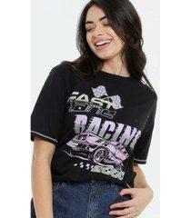 camiseta estampa frontal manga curta marisa feminina - feminino