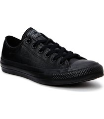 all star mono leather ox låga sneakers svart converse