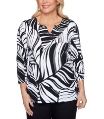 alfred dunner checkmate printed split-neck knit top