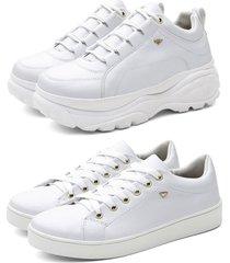 kit tênis feminino chunky + sapatenis colorido branco - kanui