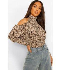 luipaardprint top met open schouders, leopard