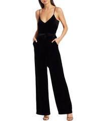 l'agence women's jackie velvet jumpsuit - black - size 2