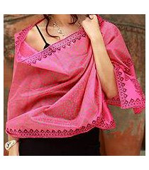cotton and silk shawl, 'festive durga puja' (india)