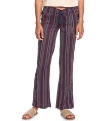 women's roxy oceanside stripe flare pants, size x-large - blue