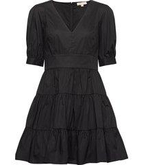 v-neck puff slv dress kort klänning svart michael kors