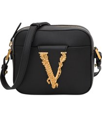 versace camera case in leather with v metal closure