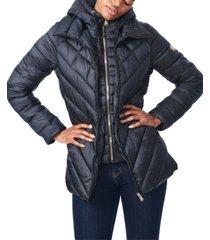 bernardo bibbed hooded packable puffer coat