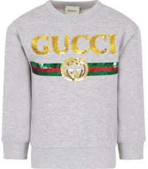 gucci melanged grey girl sweatshirt with sequined logo