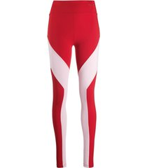 y-3 legging color block - vermelho