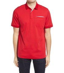 men's bugatchi pima cotton short sleeve polo shirt, size x-large - red