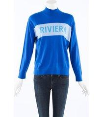 chinti and parker riviera cashmere knit sweater blue/white sz: xs