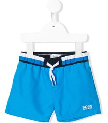 boss kidswear embroidered logo swim shorts - blue