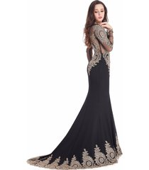 royal mermaid jersey prom dress long sleeve lace appliques bridal gown train