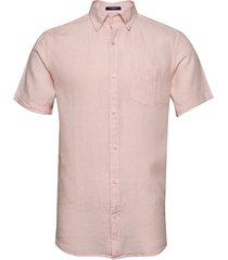 reg linen shirt ss bd overhemd met korte mouwen roze gant