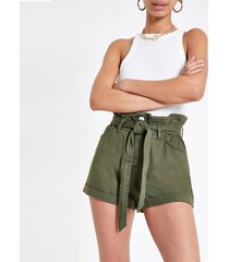 river island womens khaki paperbag belted denim shorts