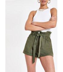 river island womens khaki paperbag belted denim shorts